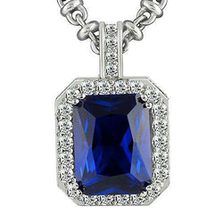 14K White Solid Gold Mens Diamond Blue Sapphire Pendant 25.09 Ctw
