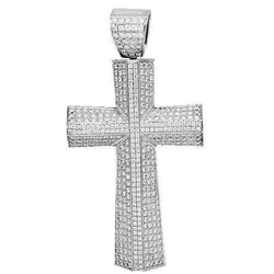 14K White Solid Gold Mens Diamond Cross Pendant 9.79 Ctw
