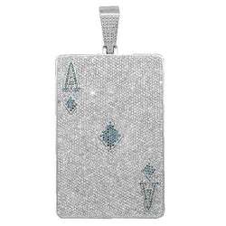 14K White Solid Gold Mens Diamond Custom Ace of Diamonds Pendant 40.00 Ctw