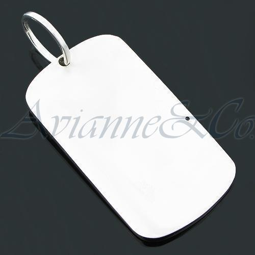 14K White Solid Gold Mens Diamond Dog Tag Pendant 1.60 Ctw