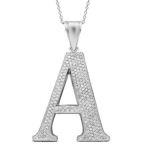 14K White Solid Gold Mens Diamond Initial Letter A Pendant 15.50 Ctw