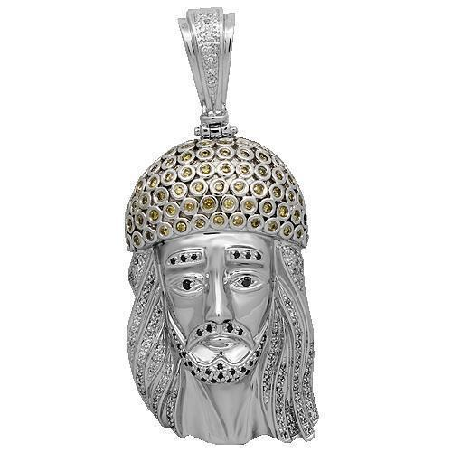 14K White Solid Gold Mens Diamond Jesus Head Pendant with Black and Yellow Diamonds 3.50 Ctw