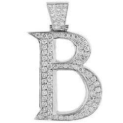 14K White Solid Gold Mens Diamond Large Letter B Initial Pendant 7.00 Ctw