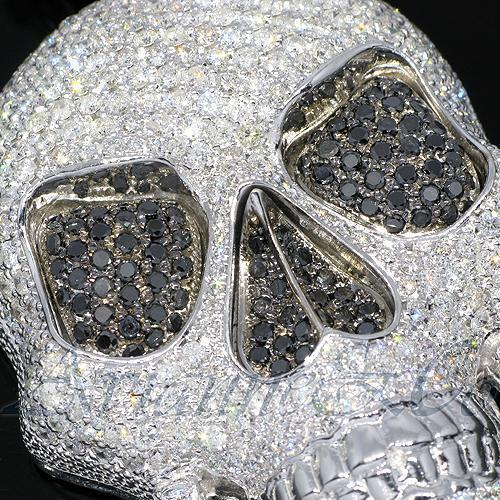 14K White Solid Gold Mens Diamond Skull Pendant with Black Diamonds 18.00 Ctw