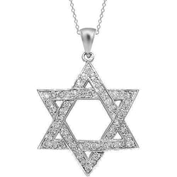 49c3dc02a283d 14K White Solid Gold Mens Diamond Star of David Pendant 1.39 Ctw