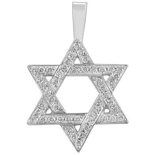 White 14K White Solid Gold Mens Diamond Star of David Pendant 1.50 Ctw