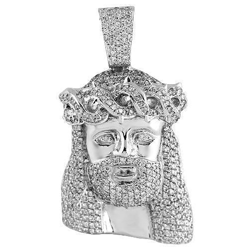 14K White Solid Gold Mens Hip Hop Diamond Jesus Head Pendant 3.00 Ctw