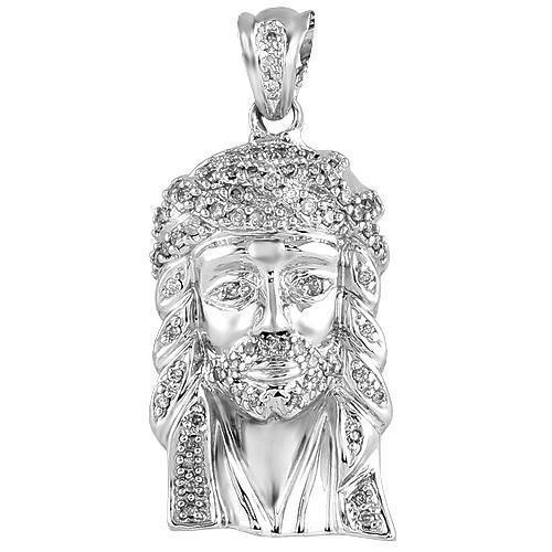 14K White Solid Gold Small Mens Diamond Jesus Head Pendant 1.00 Ctw
