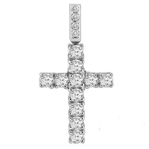 14K White Solid Gold Unisex Clarity Enhanced Diamond Cross Pendant 2.20 Ctw