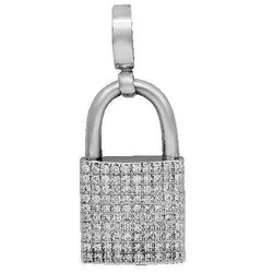 14K White Solid Gold Unisex Diamond Lock Pendant 4.27 Ctw