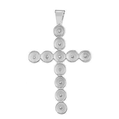 White 14K White Solid Gold Womens Bezel Set Diamond Cross 0.59 Ctw