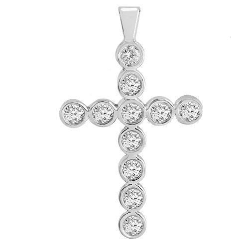 White 14K White Solid Gold Womens Bezel Set Diamond Cross 1.15 Ctw