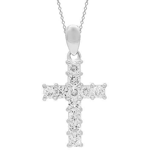 14K White Solid Gold Womens Diamond Cross Pendant 1.79 Ctw