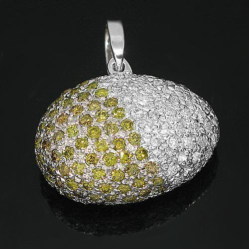 14K White Solid Gold Womens Diamond Egg Pendant with Yellow Diamonds 2.00 Ctw