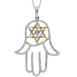 White 14K White Solid Gold Womens Diamond Hamsa Pendant 0.55 Ctw