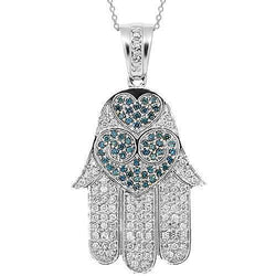 14K White Solid Gold Womens Diamond Hamsa Pendant with Blue Diamonds 1.75 Ctw