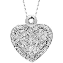 14K White Solid Gold Womens Diamond Heart Pendant 2.59 Ctw