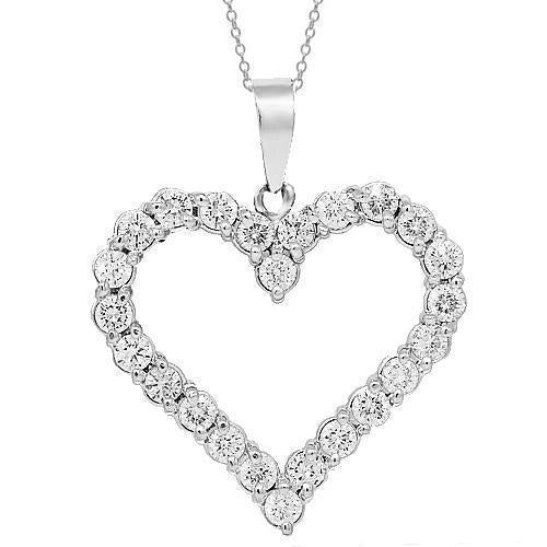 14K White Solid Gold Womens Diamond Heart Pendant 3.50 Ctw