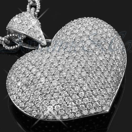 14K White Solid Gold Womens Diamond Heart Pendant 5.12 Ctw