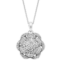 White 14K White Solid Gold Womens Diamond Pendant 1.25 Ctw