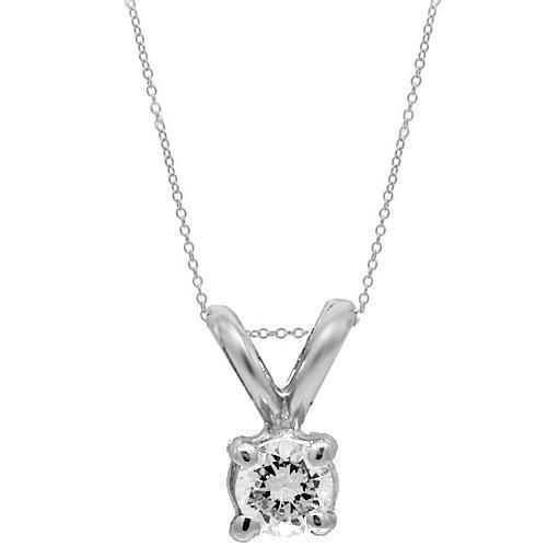 White 14K White Solid Gold Womens Diamond Solitaire Pendant 0.20 Ctw