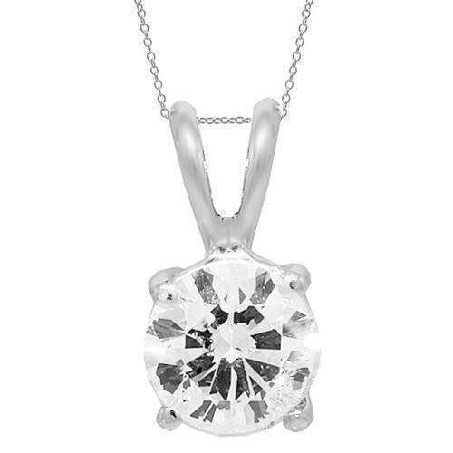 14K White Solid Gold Womens Diamond Solitaire Pendant 1.04 Ctw