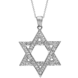 White 14K White Solid Gold Womens Diamond Star of David Pendant 0.19 Ctw