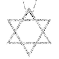 White 14K White Solid Gold Womens Diamond Star of David Pendant 0.50 Ctw