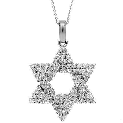 White 14K White Solid Gold Womens Diamond Star of David Pendant 0.54 Ctw