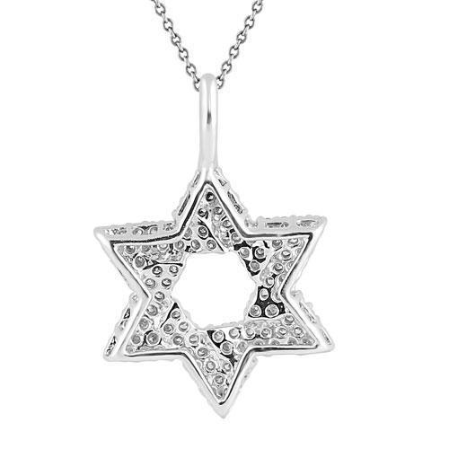 White 14K White Solid Gold Womens Diamond Star of David Pendant 1.00 Ctw