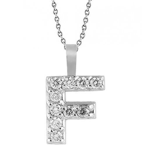 White 14K White Solid Gold Womens Initial Letter F Diamond Pendant 0.35 Ctw