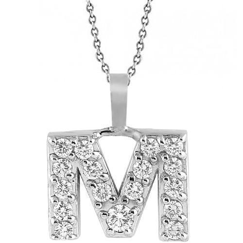 White 14K White Solid Gold Womens Initial Letter M Diamond Pendant 0.50 Ctw