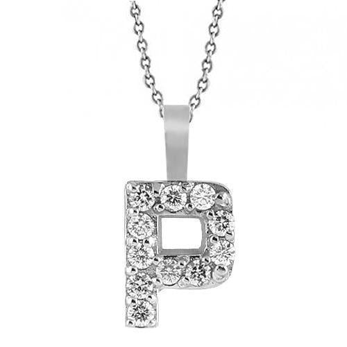 White 14K White Solid Gold Womens Initial Letter P Diamond Pendant 0.35 Ctw