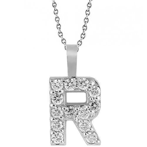 White 14K White Solid Gold Womens Initial Letter R Diamond Pendant 0.35 Ctw