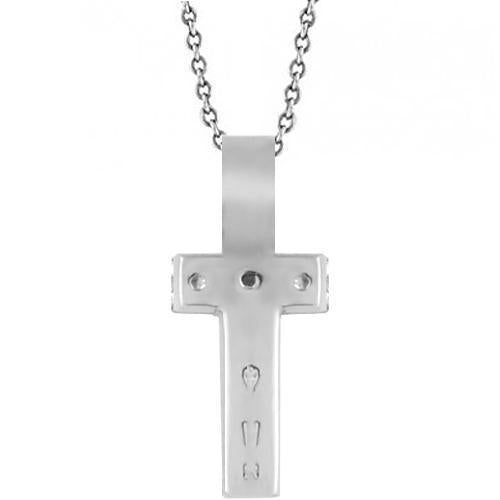 White 14K White Solid Gold Womens Small Diamond Cross Pendant 0.25 Ctw