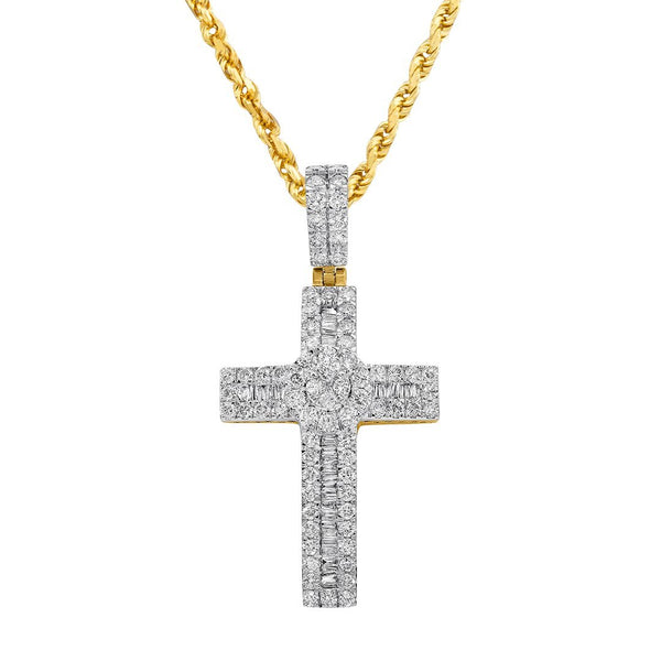 14K Yellow Gold Cross Pendant 1.68 Ctw