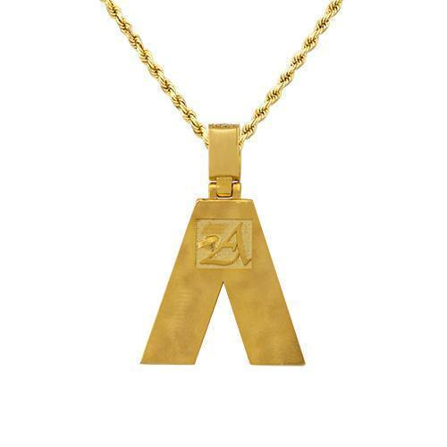 14K Yellow Gold Custom Diamond Initial A Letter Pendant 2.48 Ctw