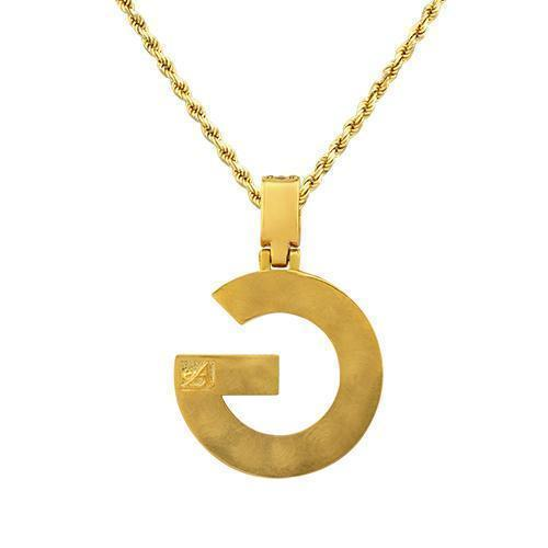 14K Yellow Gold Custom Diamond Initial G Letter Pendant 1.45 Ctw