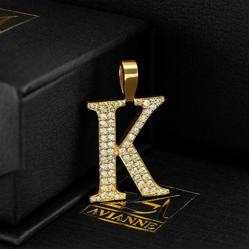 Yellow 14K Yellow Gold Diamond Initial Letter K Pendant 0.81 Ctw