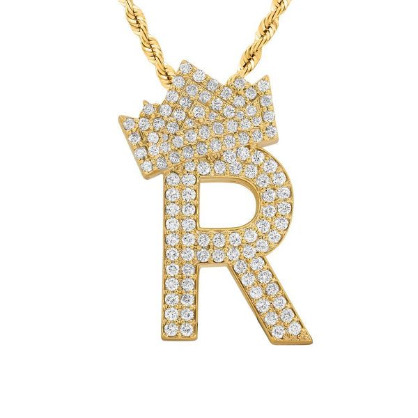 14K Yellow Gold Diamond Initial R Pendant with Crown 2.50 Ctw