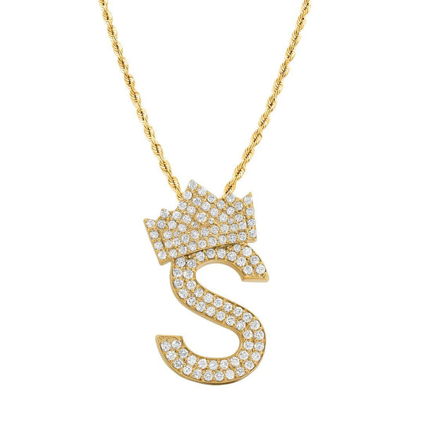 14K Yellow Gold Diamond Initial S Pendant with Crown 2.25 Ctw