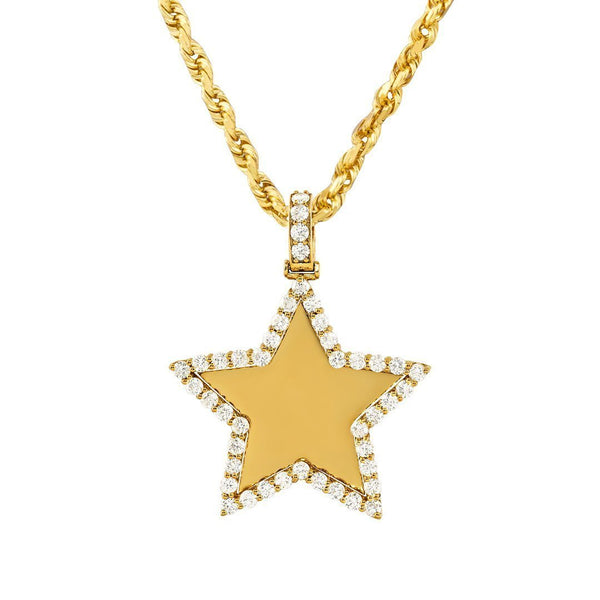 14k Yellow Gold Diamond Star Pendant 3.50 Ctw