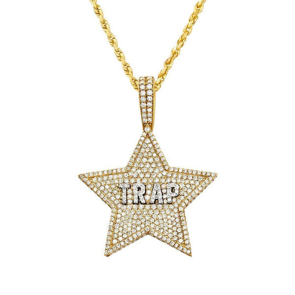 14k Yellow Gold Diamond Trap Star Pendant 2.25 Ctw