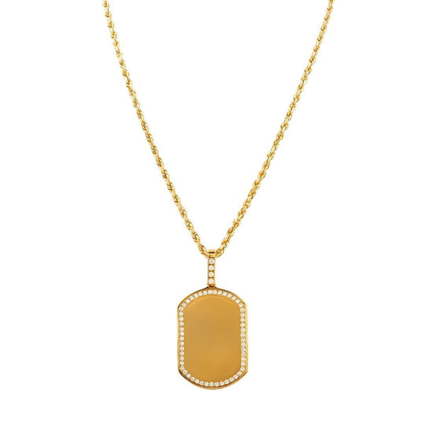 14k Yellow Gold Dog Tag Pendant 1.15 Ctw