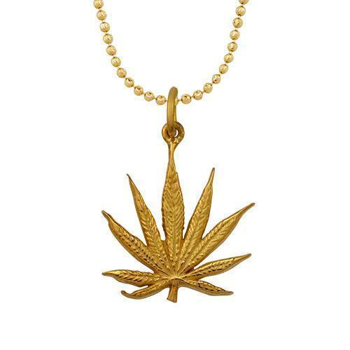 Yellow 14k Yellow Gold Marijuana Pendant