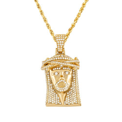 14K Yellow Gold Mens Jesus Head Pendant With Round Cut Diamonds 3.00 Ctw