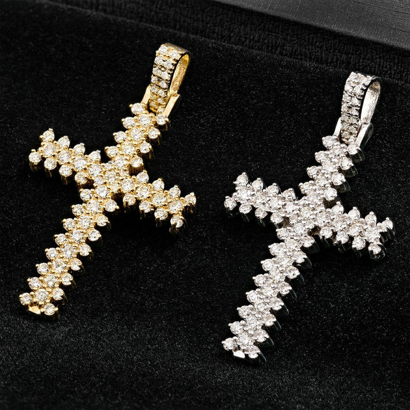 Yellow 14k Yellow Gold Three Row Diamond Cross Pendant 1 Ctw