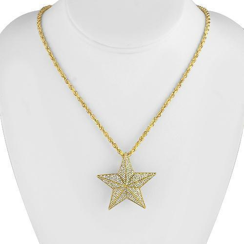 14K Yellow Solid Gold Custom Mens Diamond Star Pendant 3.96 Ctw