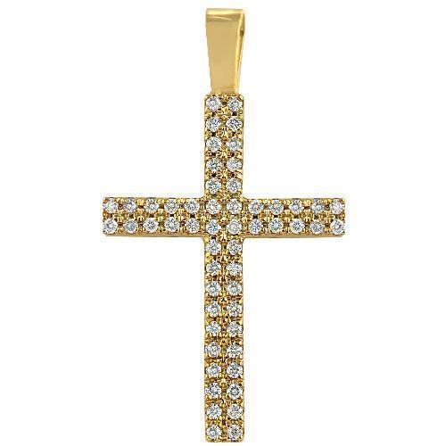 14K Yellow Solid Gold Diamond Cross Pendant 1.75 Ctw