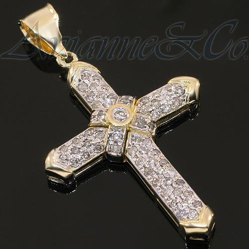 Yellow 14K Yellow Solid Gold Diamond Cross Pendant 2.25 Ctw